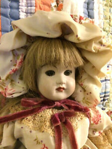 """Antique/ vintage bisque doll with elaborate outfit unknown origin 17"""""""