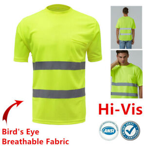 Reflective Safety Pocket Short Sleeve Breathable T-Shirt ANSI Class 2 Yellow