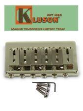 Genuine Kluson 6 String Fixed Hardtail Bridge for USA Fender Strat. Nickel KSB-N