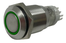 Green LED Stainless Metal Latching Push Button Switch On Off 12V - 16mm Mounting