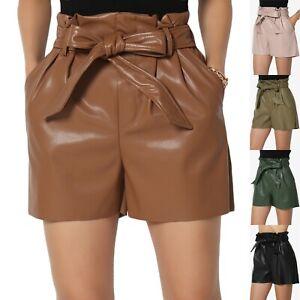 TheMogan XS~XL Vegan Faux Leather Tie Elastic High Waist Paperbag Pleated Shorts