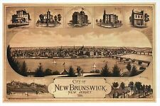 City of New Brunswick New Jersey, Map Panoramic View NJ, Boats - Modern Postcard