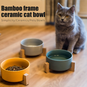 Pet Ceramic Elevated Raised Cat Bowl With Wood Stand No Spill Pet Food Water