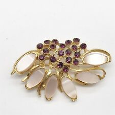 VINTAGE LADIES GOLD TONE MOTHER OF PEARL AMETHYST GLASS COSTUME PIN BROOCH