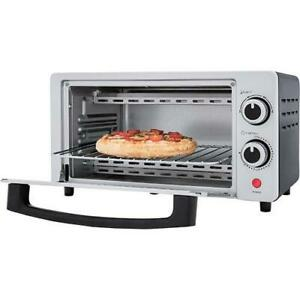 "Premium New 4-Slice Toaster Broil Oven 8"" Pizza Bake. Elegant Silver 800 W"