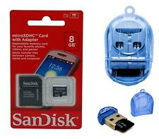 SanDisk 8GB Micro SD HC New MicroSD Memory Card 8G 8 GB + USB Card Reader