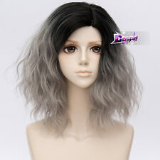 """Gothic Lolita 14"""" Short Curly Black Mixed Gray Anime Cosplay Wig Heat Resistant"""