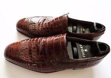 $5800 ARTIOLI Brown Crocodile Alligator Leather Wing Tip Shoes 7 US 40 Euro 6 UK