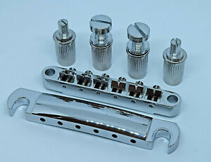 Chrome Gibson Type Tuneomatic Bridge & Stop Bar Tailpiece & Studs
