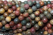 Red Creek Jasper 8mm Faceted Round Approx. 16 inch Strand.
