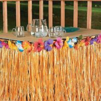 Hawaiian Grass Table Skirt Hibiscus Flowers Tropical Luau Beach Tiki Party Decor