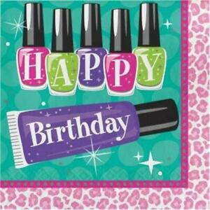 Sparkle Spa Happy Birthday Lunch Napkins Paper 16 Pack Girls Party Tableware