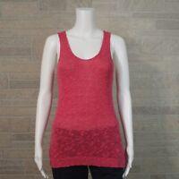 Ann Taylor LOFT Misses SMALL Bright Pink Linen Slub Sleeveless Tank Shirt Top
