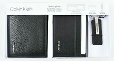 CALVIN KLEIN Men's Leather Gift Set, Wallet, Card Case, Key Fob, Black, Boxed