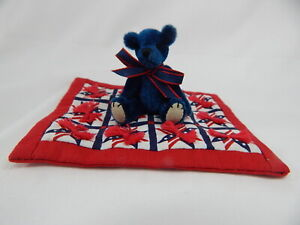 "World of Miniature Bears 2.5"" Plush Bear with Quilt #Q4 CLOSING"