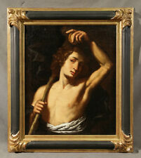 Antique Old Master Painting Young Man With Fruit Allegorical Scene