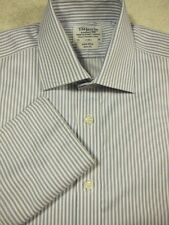 PRISTINE T.M. Lewin Blue Stripe  French Cuff Cotton Dress Shirt 16x35