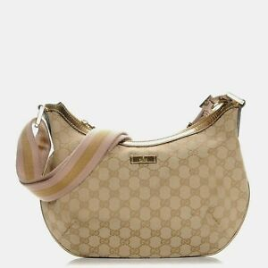 GUCCI Monogram Web Medium Messenger Bag Gold Pink