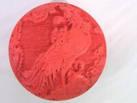 """Vintage Chinese Carved Cinnabar Red 3"""" Round Trinket Box Phoenix Bird Design"""