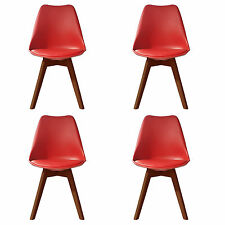 4 X (4X) (X4) RED Jamie Dining Chair WALNUT Designer SOFT PAD FAUX LEATHER BEECH
