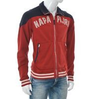 Napapijri Men's Full Zip Warmed Thick Varsity Bomber Jumper Jacket Red Size L