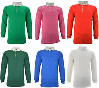 Mens Gents Boys Rugby Shirt Long Sleeve Classic Rugby Polo Shirt 100% Cotton