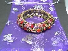 COSTUME JEWELLERY BEAUTIFUL BRACELET RED STONES PINK FLOWERS &GIFT BAG
