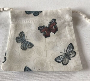 Drawstring Gift/pouch bag Butterflies Cotton Fabric Handmade
