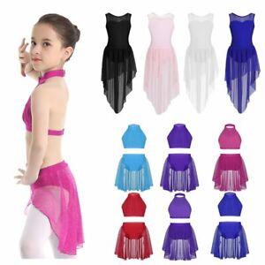 Kids Girls Lyrical Belly Dance Outfit Glittery High-low Skirt Ballroom Dancewear