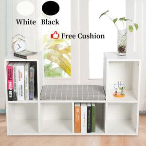 6 Cube Bookshelf Bookcase Shelving Storage Display Cabinet Rack Unit with Seat
