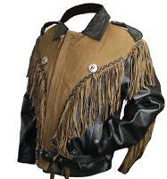 Men Genuine Leather Black/Brown Fringed Leather Motorcycle Jacket