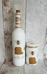 Bee Bottle Light And Storage Jar Set/home decor/lamp/gift set