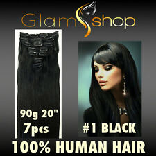 """20"""" CLIP IN STRAIGHT 100% Human Remy Hair extensions 90g #1 Black clip ins"""