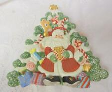 Vintage Fitz & Floyd Christmas Collectible Santa Gingerbread Candy Tree Plate