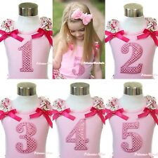 Pink Tank Top Floral Ruffle Hot Pink Bow Birthday Number Age 1ST 2ND 3RD 4TH 5TH