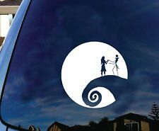 """Jack and Sally Nightmare Before Christmas Moon Car decal sticker 5.5"""" White"""