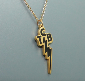 Elvis Presley Lightning Bolt TCB Concert Gold Plated Pendant Chain Necklace