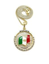 """New Iced Mexico Flag Pendant 18"""",20"""",24"""" Box, Rope, Cuban Chain Necklace XSP819"""