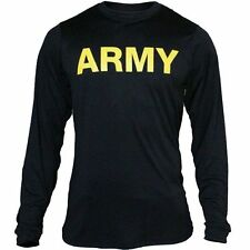 US Army APFU Black Moisture wicking PT Physical Training LONG SLEEVE Shirt L