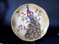 "Tabletops Gallery Peacock 15"" Shallow Serving Platter Centerpiece Handmade"