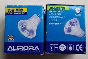 2 x Aurora AU-MR8/35 12v cool beam halogen lamp
