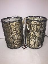 "NEW Allen + Roth 9"" x 6"" Pendant Light Shade Brown Branch Tan Fabric Drum Lot- 2"