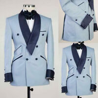 Light Blue Tailored Fit Men Suits Wedding Groom Formal Tuxedos Jackets Pants New