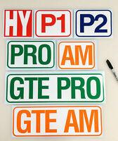 Le Mans Endurance Class Decal Stickers - Lemans Race P1 P2 PRO AM GTE PRO GTE AM