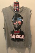 Usa Merica Abe Lincoin Sleeveless Party Shirt  With Glasses  Sz XL