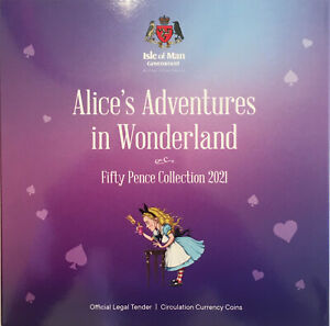 2021 50p Fifty Pence 5-Coin Set Alice in Wonderland Isle of Man (Manx) Cheshire