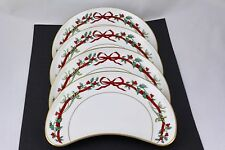 SET OF 4 ROYAL WORCESTER HOLLY RIBBONS CRESCENT SALAD PLATES - MINT (ENGLAND)