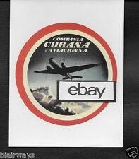 CUBANA DE AVIACION DOUGLAS DC-3 BAGGAGE LABEL 1940'S REPRODUCTION