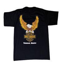 Harley-Davidson Motorcycle Bald Eagle Mens Black T-Shirt Cozumel Mexico Sz L
