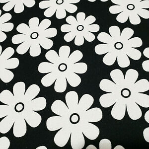 """Black White Daisey Floral Crepe Shirting Fabric 56"""" By The Yard"""